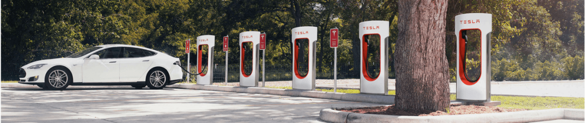 Tesla Car and the charging stations. Copyright of www.tesla.com