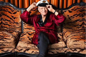 Hugh Hefner in his iconic silk Pajamas