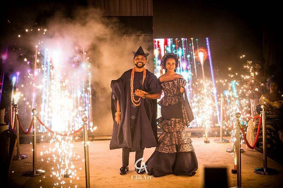 Banky W and Adesua at their reception