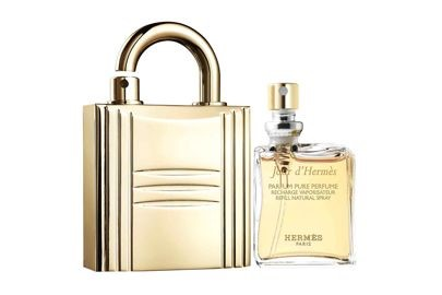HERMES PERFUME REFILLABLE GOLD PADLOCK