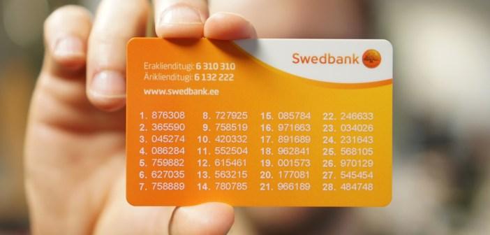 Lõika pooleks! 1. veebruarist Swedbanki paroolikaarte enam kasutada ei saa