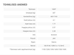 Tiki treiler tehnilised andmed