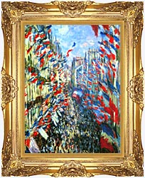 Claude Monet Rue Montorgueil Paris   Festival Of June 30 1878 canvas with Majestic Gold frame