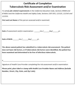 tuberculosis screening certificate of completion