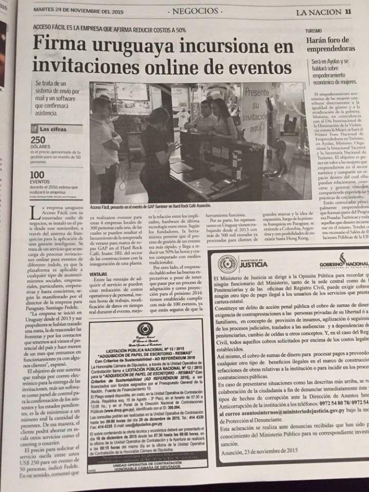 Firma uruguaya incursiona en invitaciones online de eventos. Diario La Nación.