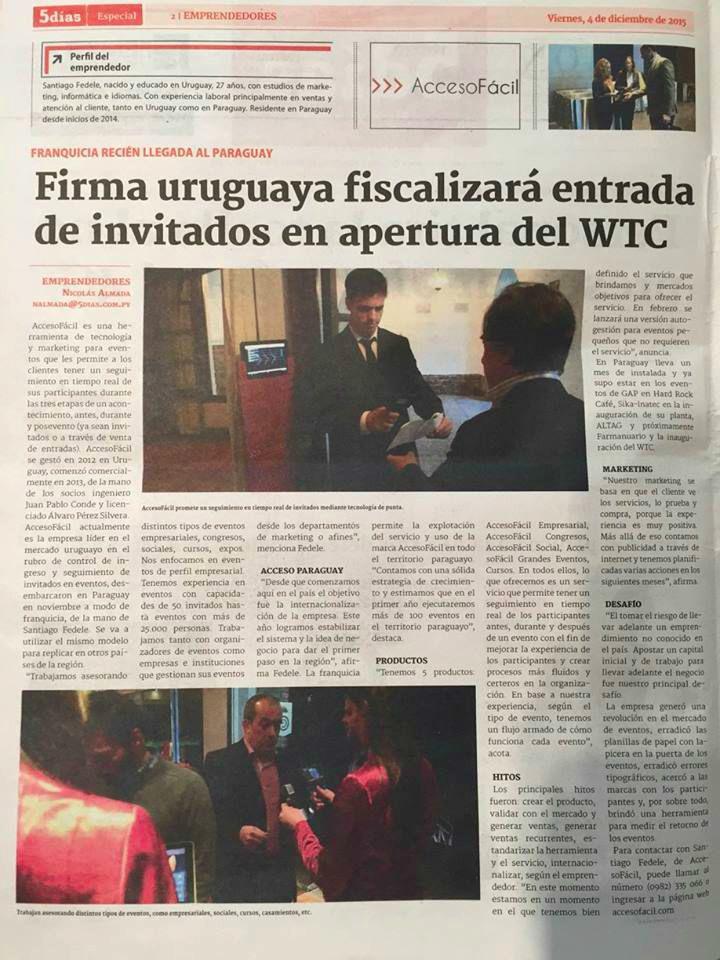 Firma Uruguaya fiscaliza ingreso de la inauguración de World Trade Center Asunción. Diario 5 Días.
