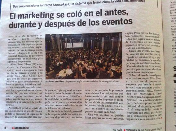 """""""El marketing se coló en el antes, durante y después de los eventos"""" Diario El País, suplemento El Empresario."""