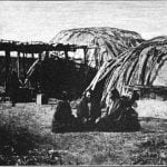 Two types of wigwams covered with birch bark