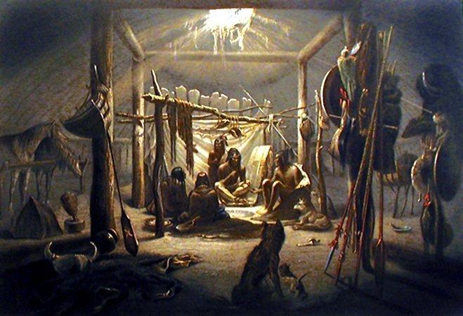 Native American Village Paintings