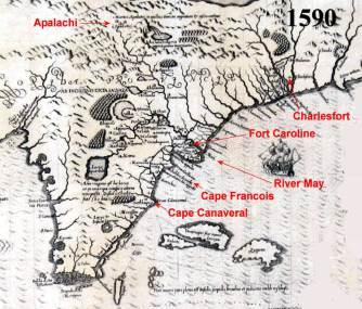 1590 DeBry Map of Florida