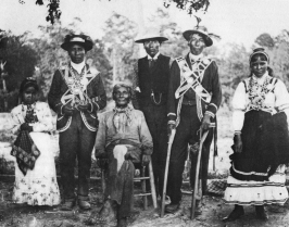Mississippi Choctaw group wearing traditional garb, c. 1908
