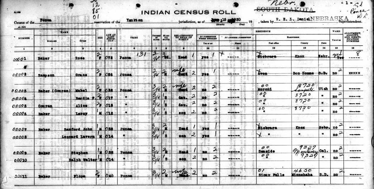 Free US Indian Census Rolls 1885-1940