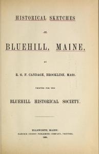 Historical Sketches of Bluehill Maine