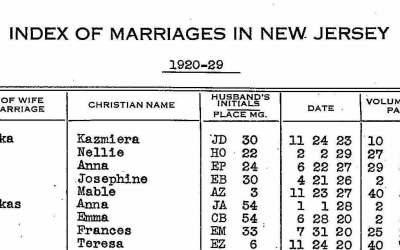New Jersey Marriage Index 1901-2016