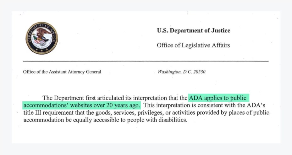 US department of justice letter to congress regarding web accessiblity