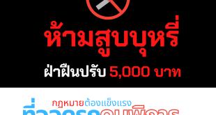 ภาพ แบนเนอร์ 'ห้ามสูบบุหรี่ ปรับ 5,000 บาท'