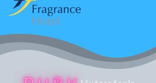 ภาพ โลโก้ Fragrance Hotel / Ruby พร้อมเขียนคำว่า ให้บริการด้วยใจ (Service Minded)