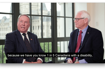 The Honourable Jim Munson, Senator of Ottawa/Rideau Canal Ontario and Bill Adair of Spinal Cord Injury Canada discuss a Barrier Free Canada