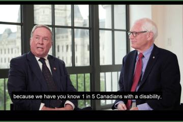 The Honourable Jim Munson, Senator of Ottawa/Rideau Canal Ontario and Bill Adair of Spinal Cord Injury Canada discuss a Barrier Free Canada