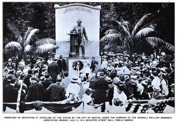 The dedication ceremony dedicating the Wendell Phillips Memorial at the Boston Public Garden on July 15, 1915.