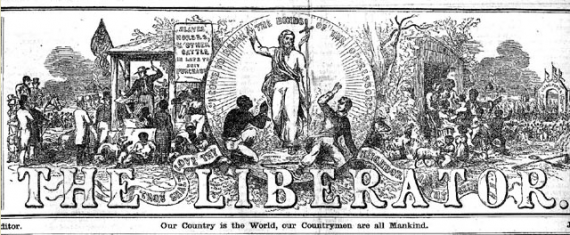 Masthead, The Liberator, 1850. Designed by Hammatt Billings.