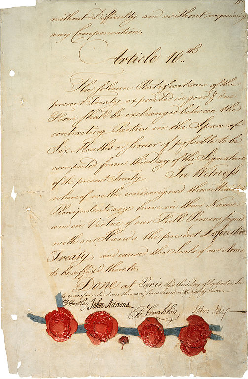 Treaty of Paris 1783, Last page with signatures