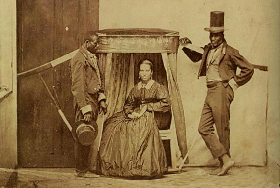 Lady in litter being carried by her slaves, province of São Paulo in Brazil, ca.1860.