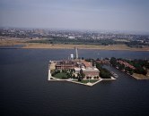 Aerial view of the Ellis Island immigration station, Jersey City