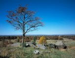 View from Little Round Top at Gettysburg Battlefield in Pennsylvania