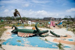 Broken miniature golf pieces in the ruins of Biloxi, Mississippi
