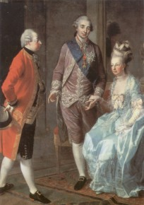 Marie Antoinette with her husband and brother, 1777
