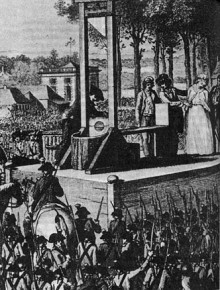 The execution of Queen Marie Antoinette of France, 1794