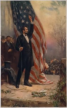 Abraham Lincoln, holding flag (1908 print)