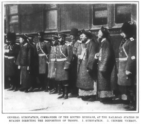 General Kuropatkin, Commander of the Routed Russians, at the Railroad Station in Mukden Directing the Disposition of Troops. 1. Kuropatkin. 2. Chinese Viceroy.