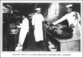 Chop-suey Chef in a Chinese Restaurant preparing for a banquet, Frank Leslie's Weekly, November 9, 1905.