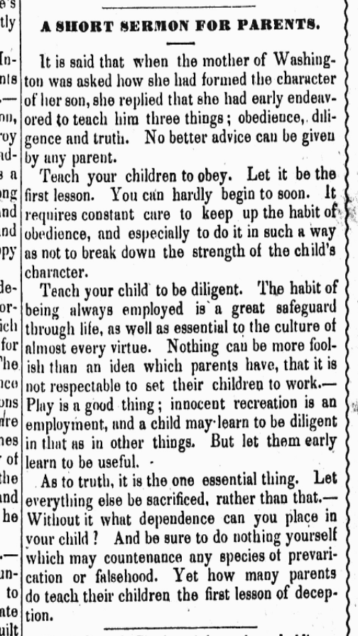 A Short Sermon for Parents (1850)