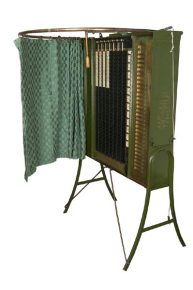 A voting machine designed by Alfred J. Gillespie and marketed by the Standard Voting Machine Company of Rochester, New York from the late 1890s.