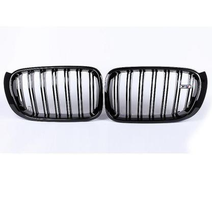 Gloss Black Dual Line Front Kidney Grill Grille For BMW F25 F26 X3 X4 2014-2017