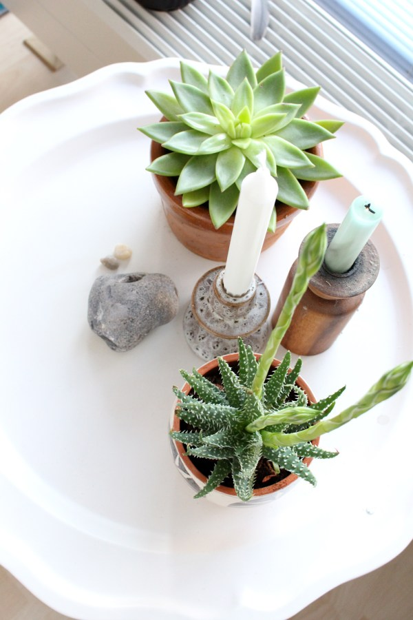 Vetplanten en kandelaars op een wit dienblad - via Accessorize your Home
