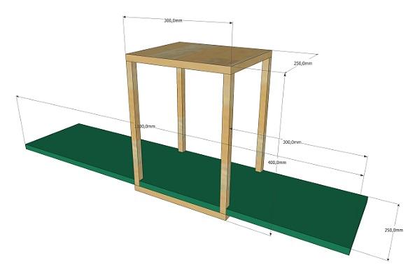 Werktekening van opmaatzagen.nl voor een zwevende wandplank met houten box - via Accessorize your Home