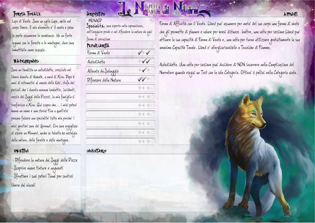 Le Notti di Nibiru - Scheda del PG seconda pagina