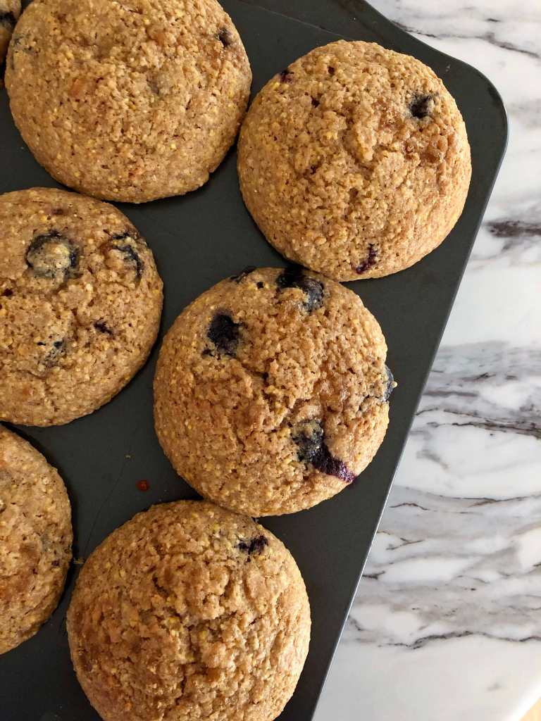 Spelt, Rye and Cornmeal Muffins with Blueberries | Accidental Artisan