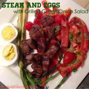 Steak and Eggs with Grilled Green Onion Salad