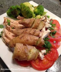 Grilled Chicken with Fingerling Potatoes and Veggies in a Champagne Vinaigrette