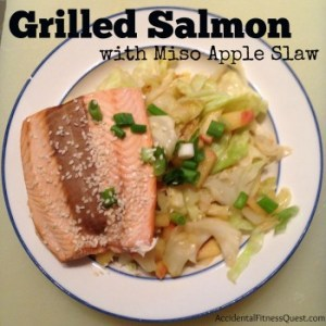 Grilled Salmon with Miso Apple Slaw