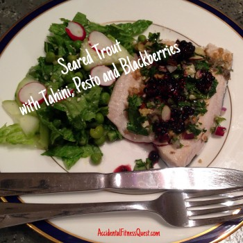 Seared Trout with Tahini Sauce, Pesto, and Blackberry Drizzle