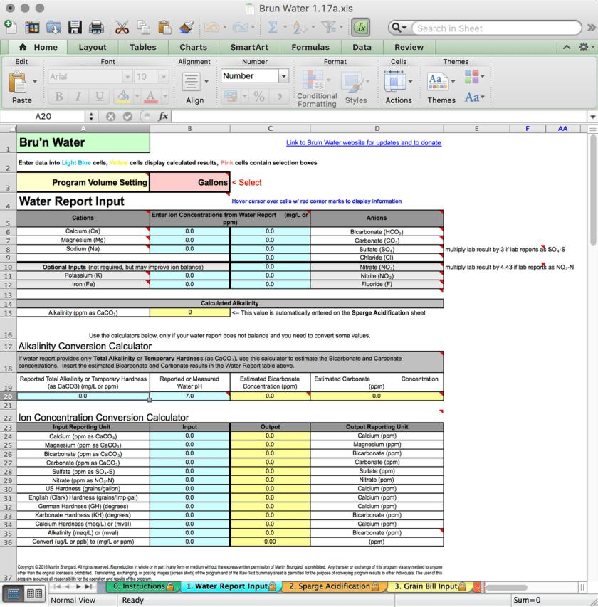 Bru'n Water Free Spreadsheet v 1.17a Water Report Input Tab