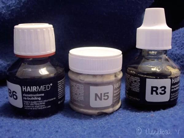 GlossyBox Ottobre 2011 - Hairmed MASCHERA ESSENZIALE N5, BAGNO EUDERMICO VOLUMIZZANTE B6, FLUIDO RICOSTRUTTORE CON KERATINA R3,