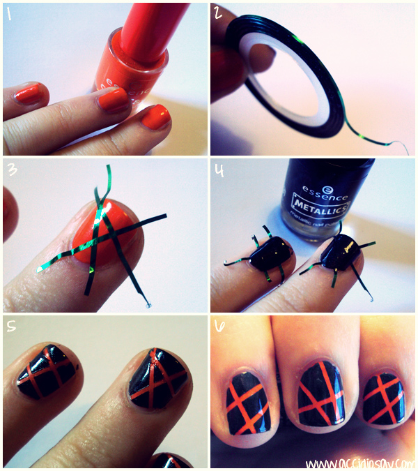Striping Tape Nail Art Tutorial: Striping Nailart Tutorial [Ita + Eng]