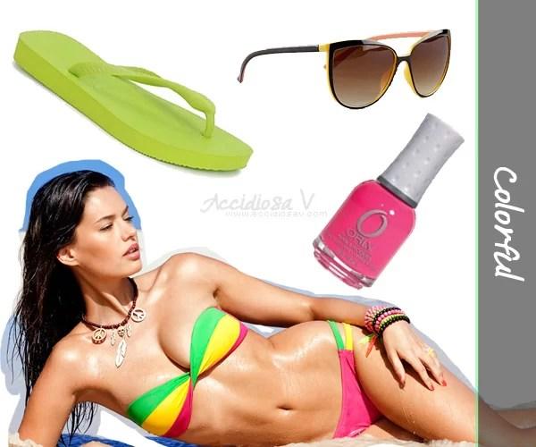How to dress at the beach (Yamamay Bikini, Havaianas flip flops, Bershka sunglasses, Orly nail polish) - Collage © www.accidiosav.com